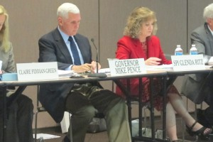 Gov. Mike Pence, left, and state superintendent Glenda Ritz co-chair the April Education Roundtable meeting. The panel has recommended the State Board adopt proposed math and English language arts standards.