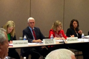 Governor Mike Pence and state superintendent Glenda Ritz co-chaired the Education Roundtable meeting in June.