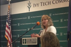 Claire McInerny / StateImpact Indiana  State superintendent Glenda Ritz speaks to early educators Tuesday at Ivy Tech in Bloomington.