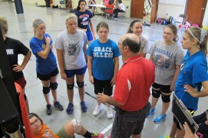 Kim Mountain addresses the members of his homeschool volleyball team, the Indy Silver Lightning.