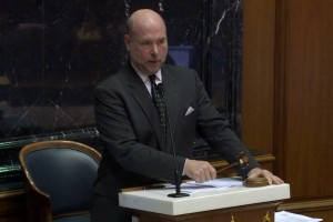 House speaker Brian Bosma is one of several lawmakers working to untie teacher evaluations from 2015 ISTEP+ results. (Photo Credit: Gretchen Frazee/WTIU News)