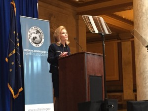 Commissioner for Higher Education Teresa Lubbers explains the new surveying tool for college graduates at her State of Higher Education Address Monday.