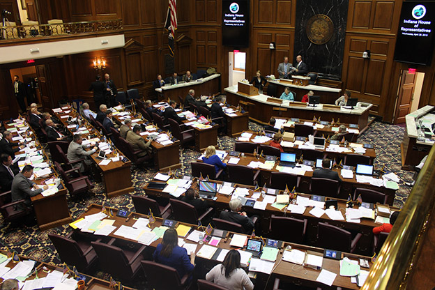 """Members of the Indiana House of Representatives meet during the 2015 """"education session."""" (Photo Credit: Rachel Morello/StateImpact Indiana)"""
