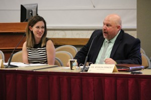 Reappointed board member Sarah O'Brien and new board member Byron Ernest at the June State Board of Education meeting.