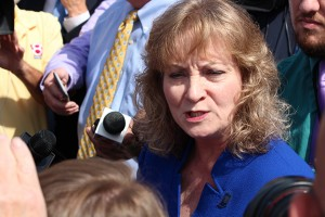 State superintendent Glenda Ritz talks to reporters after announcing her candidacy for governor of Indiana.