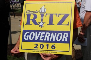 A supporter holds his sign supporting state superintendent Glenda Ritz during her announcement she will run for governor in 2016. (Photo Credit: Rachel Morello/StateImpact Indiana)