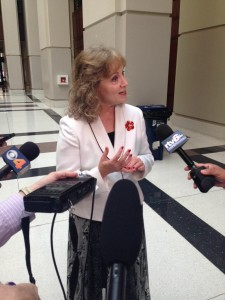 Indiana State Superintendent and gubernatorial candidate Glenda Ritz speaks to the press at the statehouse, following allegations her campaign violated election finance laws. (Photo Credit: Rachel Morello/StateImpact Indiana)