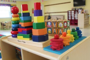 Building blocks were among wome of the new materials Tina Howell was able to purchase for her pre-k classroom at Brownstown. (Photo Credit: Rachel Morello/StateImpact Indiana)