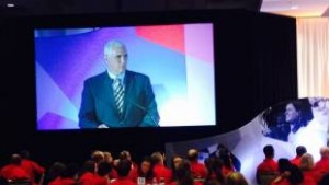 Gov. Mike Pence speaks at the Charter Schools USA 2015 summit at The Weston in Indianapolis, Tuesday, July 28, 2015. (Photo Credit: Eric Weddle/WFYI Public Media)