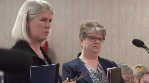 CTB president Ellen Haley and Indiana Department of Education Assessment Director Michelle Walker address the State Board of Education Wednesday. CTB told the board it will take one extra month to score all of the state's ISTEP+ tests.
