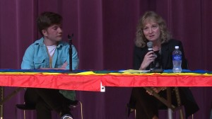 State superintendent Glenda Ritz speaks on a panel at Bloomington High School South about making Indiana schools safer and more inclusive for LGBT students.