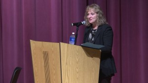 State superintendent Glenda Ritz speaks before the panel discussion on LGBT issues in schools.