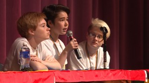 Three Prism students speak on a panel at Bloomington High School South about making schools more inclusive for LGBT students. State superintendent Glenda Ritz joined the students as part of the panel.