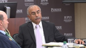 Provost of Academic Affairs at Purdue University, Deba Dutta, speaks in favor of the policy at the Board of Trustees meeting Oct. 8.
