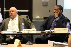 INSBOE members Byron Ernest (left), a charter school director, and Eddie Melton listen during a board meeting earlier this year. (Photo Credit: Rachel Morello/StateImpact Indiana)