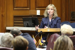 State Superintendent Glenda Ritz speaks to members of the General Assembly's Interim Study Committee on Education Monday. (Photo Credit: Rachel Morello/StateImpact Indiana)