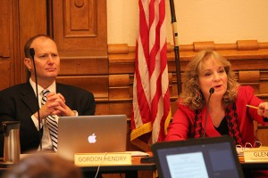 State Board of Education members Gordon Hendry and state Superintendent Glenda Ritz listen during the group's special meeting Wednesday. (Photo Credit: Rachel Morello/StateImpact Indiana)
