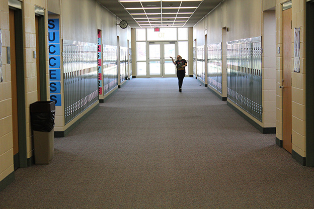 A Bluffton High School student walks the halls during the school day. (Photo Credit: Rachel Morello/StateImpact Indiana)