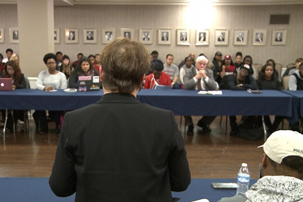IU Provost Lauren Robel addresses students at a meeting on campus Tuesday. (Photo Credit: Harrison Wagner/WTIU News)