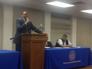 Indianapolis Public Schools Superintendent Lewis Ferebee answers questions during an NAACP forum Monday Nov. 23, 2015 at the Julia Carson Government Center. (Photo credit: Eric Weddle / WFYI Public Media)