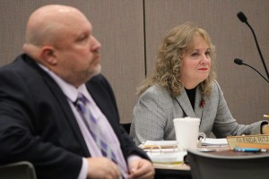 State Superintendent Glenda Ritz and fellow State Board of Education member Byron Ernest listen during December's meeting. (Photo Credit: Rachel Morello/StateImpact Indiana)