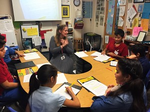 Melissa Mitchell teaches an English lesson to a group of fifth graders at West Goshen Elementary School. 51 percent of students in the Goshen Community School Corporation are Latino, and a quarter of students need English language services at school....</p>					<div class=