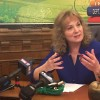 State superintendent Glenda Ritz responds to education legislation passed during the 2016 session. (photo credit: Claire McInerny/ Indiana Public Broadcasting)