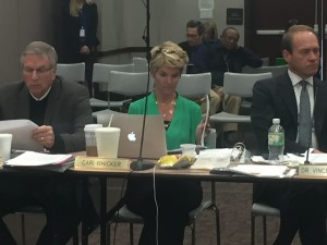 State Board of Education members Steve Yager, Vince Bartrum and Cari Whicker voted, along with all other board members, to table the discussion on changing graduation requirements.