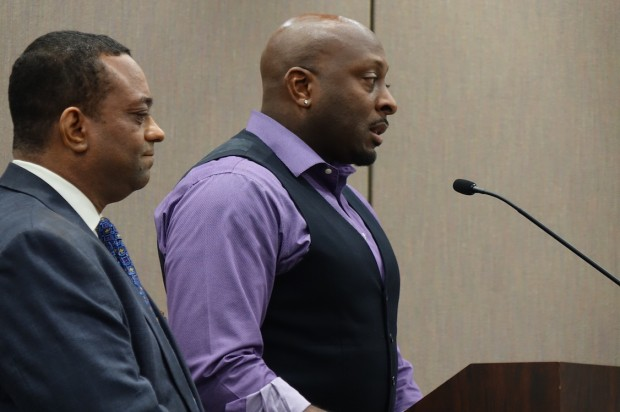 Tony Walker, a new member of the Drexel Foundation for Educational Excellence Inc., and Earl Phalen address the Indiana Charter School Board about Thea Bowman Leadership Academy on Tuesday, March 29, 2016 at the Indiana Government Center South. (Eric Weddle/WFYI)