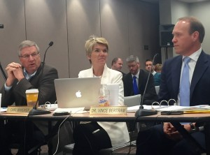 State Board of Education members Steve Yager, Cari Whicker and Vince Bertram listen to the presentation about the growth tables at April's meeting.