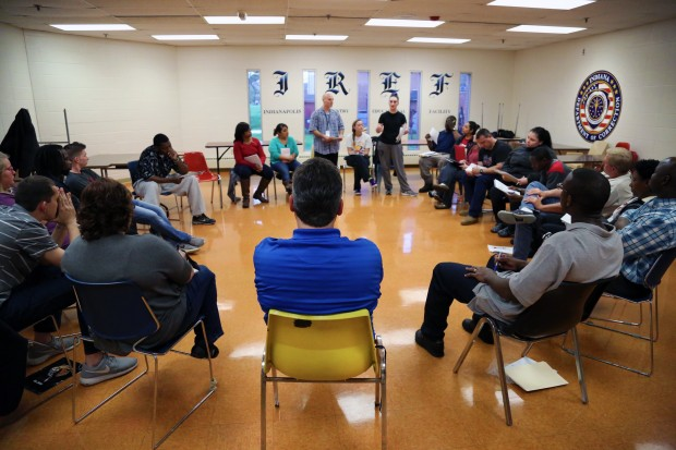 The Inside Out class at Indianapolis Re-entry Educational Facility meets. The class is part of an international program that brings college students and incarcerated people together to learn. (Peter Balonon-Rosen/Indiana Public Broadcasting)