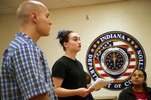 Leah Hession speaks to classmates during an Inside Out class at Indianapolis Re-entry Educational Facility. She says the class is more like a family, than a college course. (Peter Balonon-Rosen/Indiana Public Broadcasting)