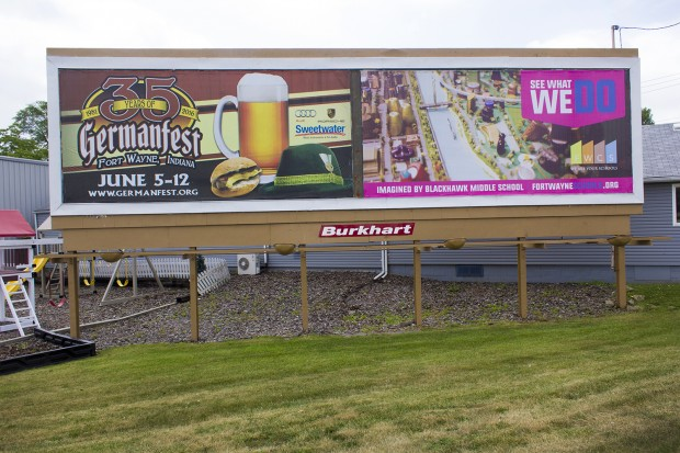 A Fort Wayne Community Schools billboard. (Peter Balonon-Rosen/Indiana Public Broadcasting)