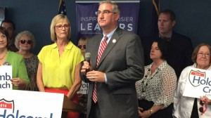 The Indiana GOP's gubernatorial ticket -- Eric Holcomb and running mate State Auditor Suzanne Crouch at an Indianapolis news conference on Aug. 1, 2016. - Brandon J. Smith / Indiana Public Broadcasting
