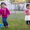 Ximena, 4, kicks a soccer ball the IN Region 4 Migrant Preschool Center. (Peter Balonon-Rosen/Indiana Public Broadcasting)
