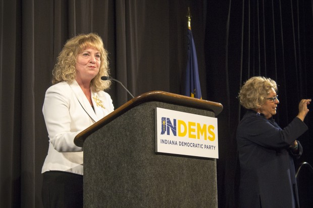 State superintendent Glenda Ritz gives a concession speech on Nov. 8, 2016. (Annie Ropeik/Indiana Public Broadcasting)