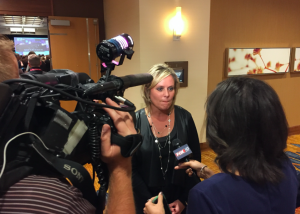 Jennifer McCormick speaks with the press on Nov. 8, 2016. (Eric Weddle/WFYI)