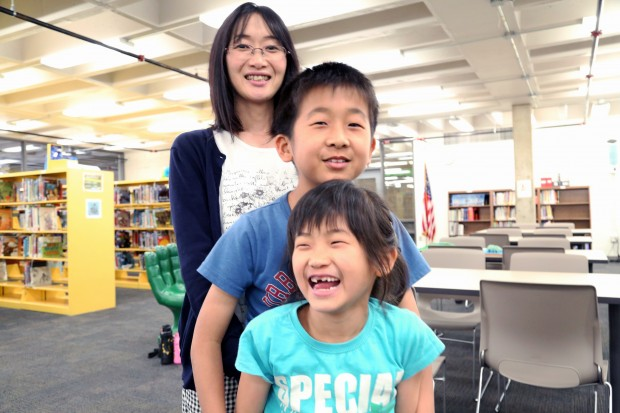 Hiroko Murabayashi moved to Columbus, Ind. from Japan in August with her husband and two kids. They came for her husband's job at Enkei, a Japanese wheel company with a branch in Columbus. Her children, Yoki, 9, and Rico, 7, attend Southside Elementary school in the Bartholomew County School Corporation and receive English language services. When they started the year they didn't speak any English. (Claire McInerny/Indiana Public Broadcasting)