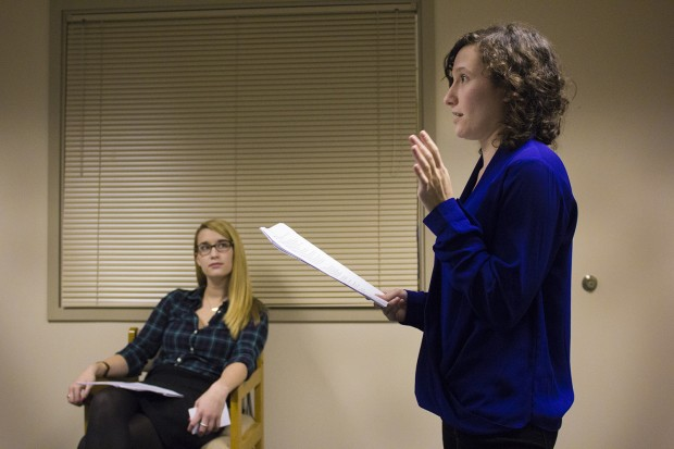 Erin McTiernan (left) looks on as Rachel Magin leads a class exercise. (Peter Balonon-Rosen/Indiana Public Broadcasting)