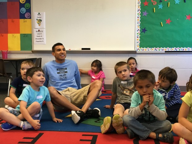 Elias Rojas is a first grade teacher at West Noble Primary school in Ligonier. As one of the school's few bilingual teachers, he volunteered to participate in the school\'s new dual language immersion program. (photo credit: Claire McInerny/Indiana Public Broadcasting)