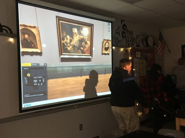 Students in an advanced art history class at Milan High School look at art at the National Gallery in London via a virtual tour. Virtual field trips and guest speakers are two tools classrooms in Milan value, since they are far away from these in person opportunities.