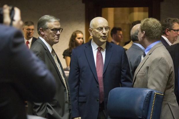 Sen. Dennis Kruse, R-Auburn (center) is head of the Senate Committee on Education. (Peter Balonon-Rosen/Indiana Public Broadcasting)