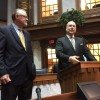 Senate President Pro Tempore David Long, left, and Indiana House Speaker Brian Bosma, right. (Eric Weddle/WFYI)
