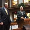 Senate President Pro Tempore David Long, left, and Indiana House Speaker Brian Bosma, right. (Eric Weddle/WFYI)
