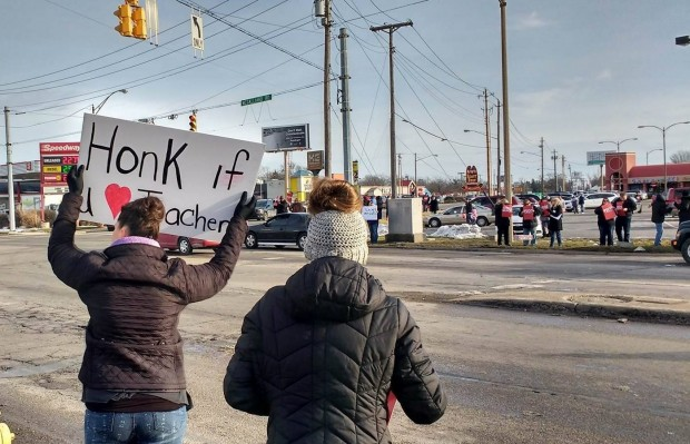 Teachers, students, and the community rallied for the school in February. (photo credit: Indiana Public Radio)