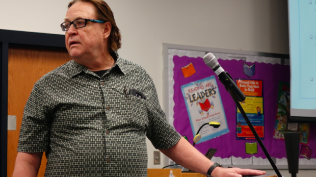 Jim Scheurich, a professor of urban education studies in the IU School of Education at IUPUI, makes a comment during the IPS School Board work session at School 15 on Tuesday, April 18, 2019. Scheurich is worried that the closure of schools will have unequal impact by race. (Eric Weddle/WFYI)