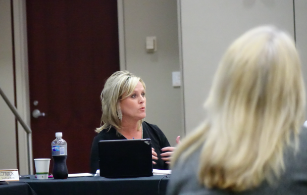 Jennifer McCormick leads the State Board of Education meeting May 10. (photo credit: Eric Weddle/WFYI)