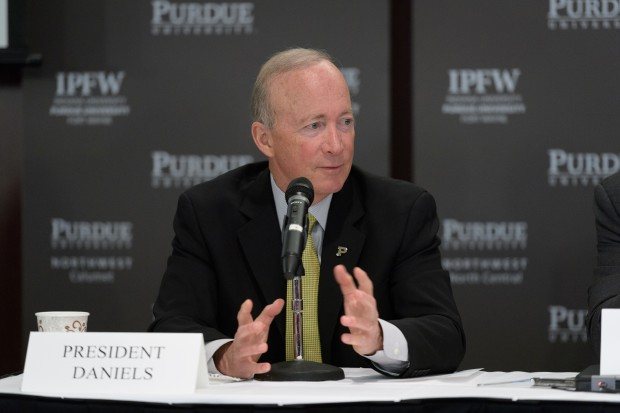 Purdue President Mitch Daniels Mitch Daniels on discusses the creation of a new public university. (Purdue University photo/John Underwood).