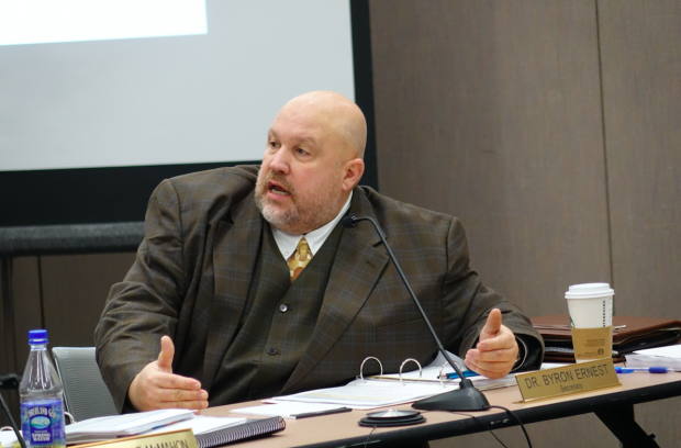 Byron Ernest, head of schools for Hoosier Academies, was appointed to the State Board of Education in May 2015 by Indiana House Speaker Brian Bosma for a four-year term. The Indiana State Teachers Association and others have questioned whether the board has been slow to sanction Hoosier Virtual Academy because of his membership. Ernest has recused himself from all discussions about Hoosier Virtual. (Eric Weddle/WFYI News)