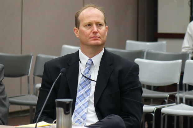 Indiana State Board of Education member Gordon Hendry voted against giving four private schools waivers to accept new vouchers from the Choice Scholarship Program during the June 7, 2017, board meeting in Indianapolis. (Photo Credit: Eric Weddle/WFY News)